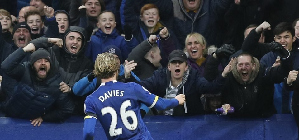 Everton fans unhappy with Davies