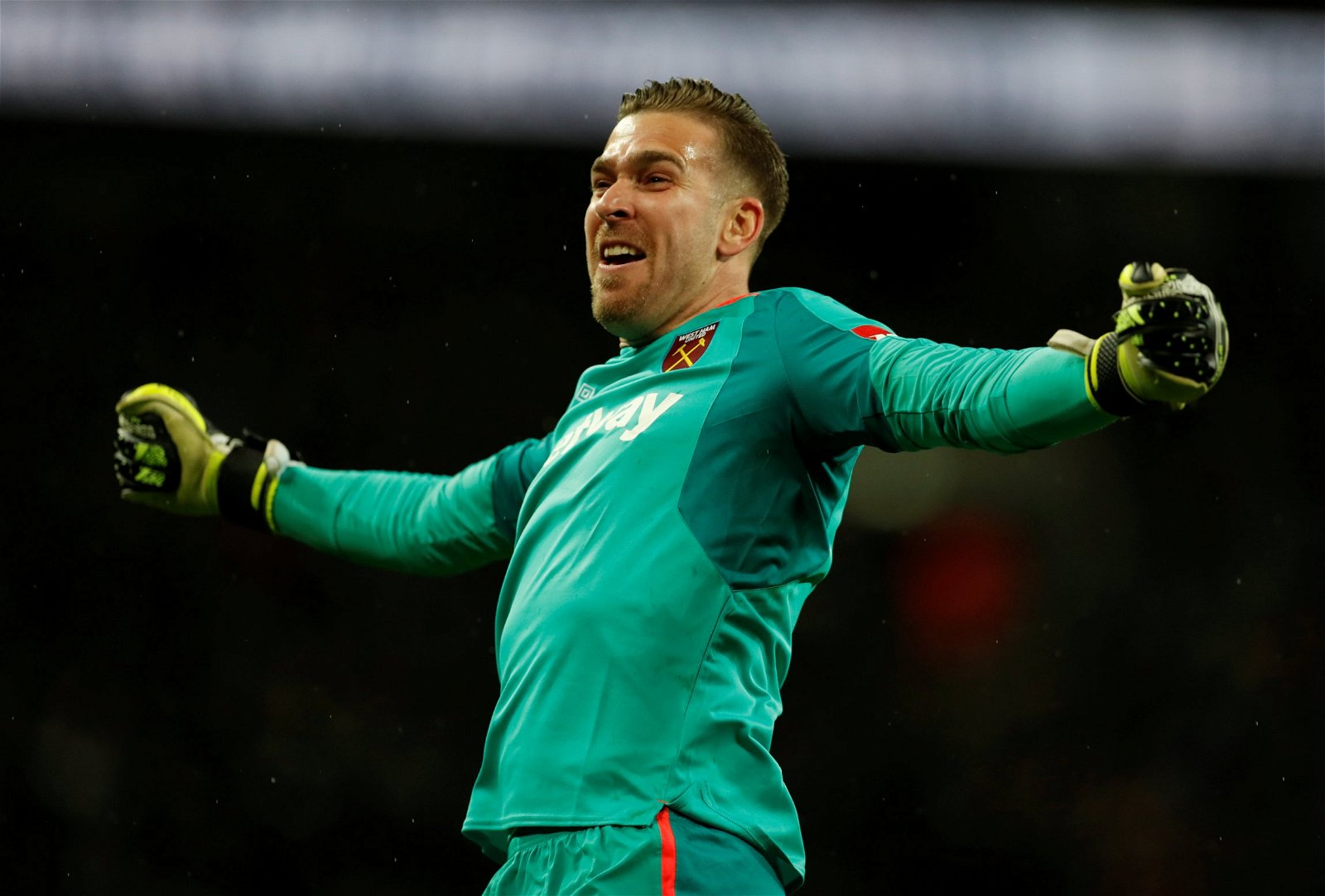 Adrian celebrates with fans