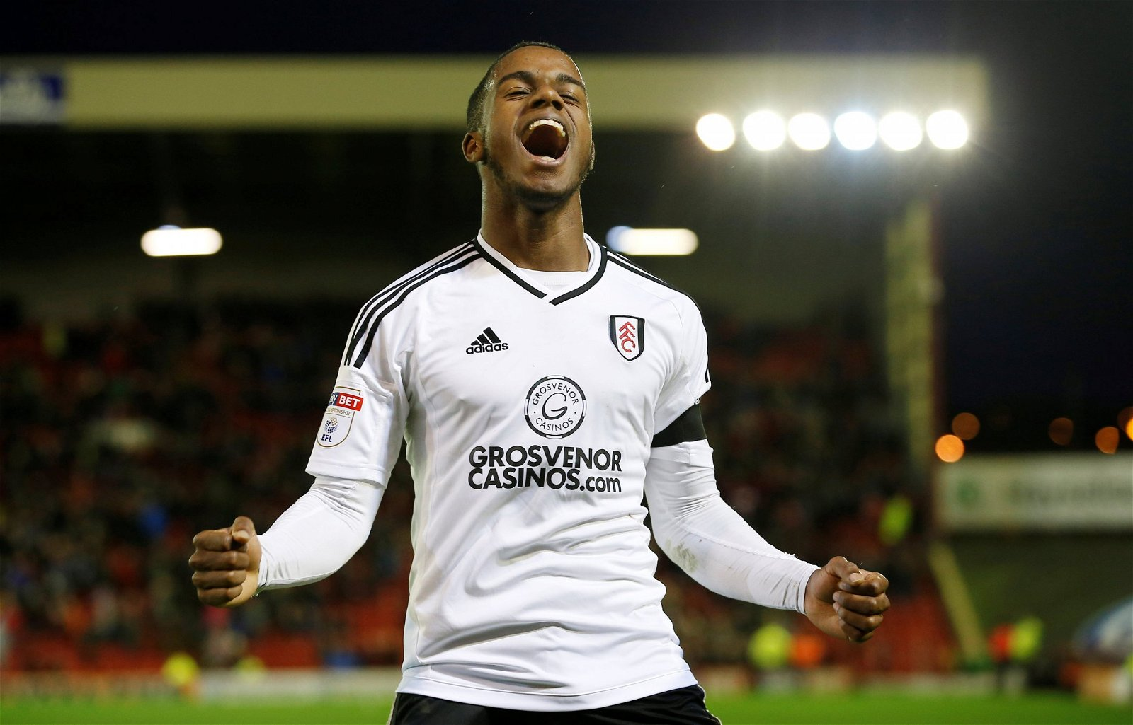 Fulham winger Ryan Sessegnon celebrates goal vs Barnsley