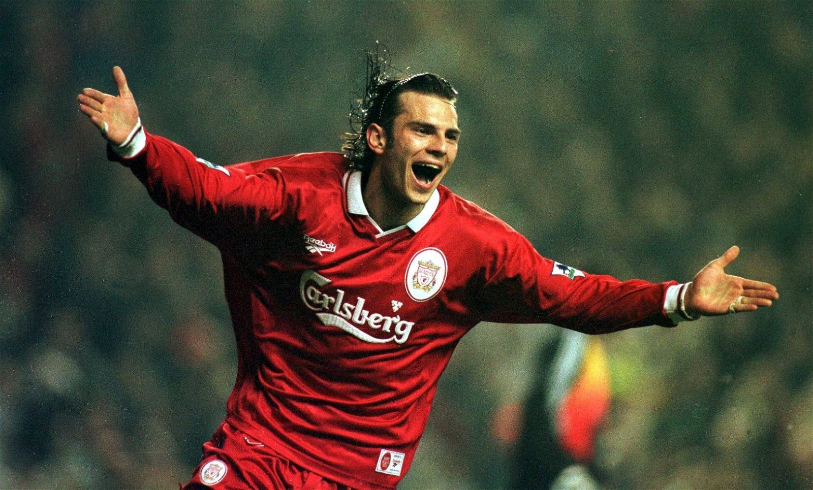 Liverpool's Patrik Berger celebrates scored against Newcastle