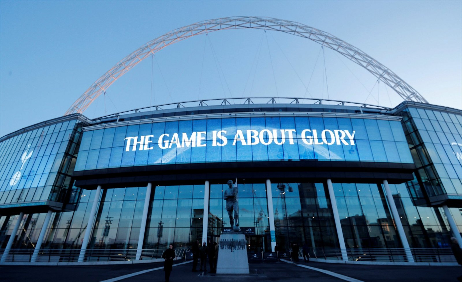 Wembley cladded with Tottenham slogan