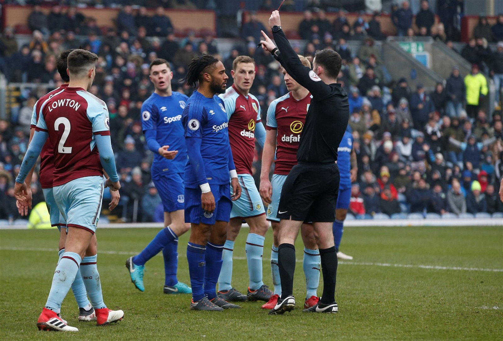 Everton defender Ashley Williams is sent off