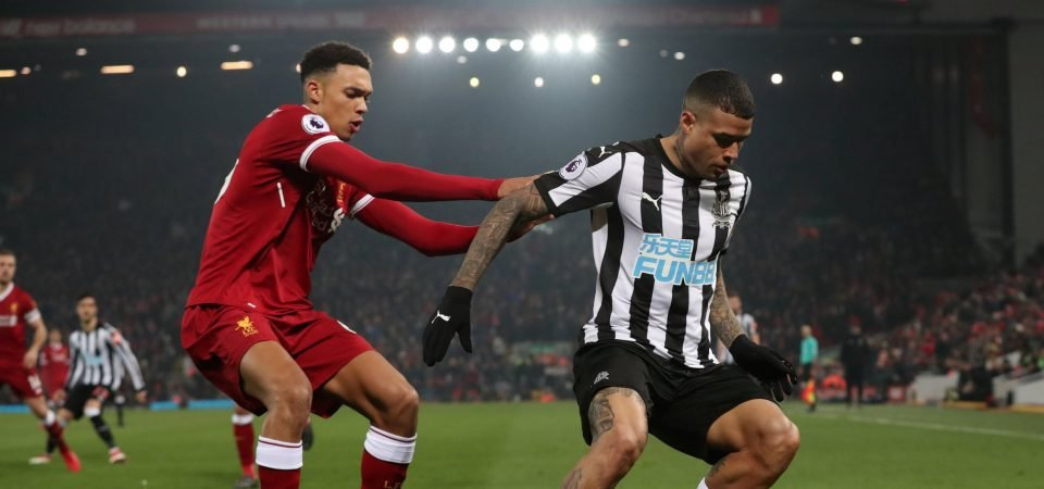 Newcastle fans weren't happy with Kenedy's performance against Liverpool