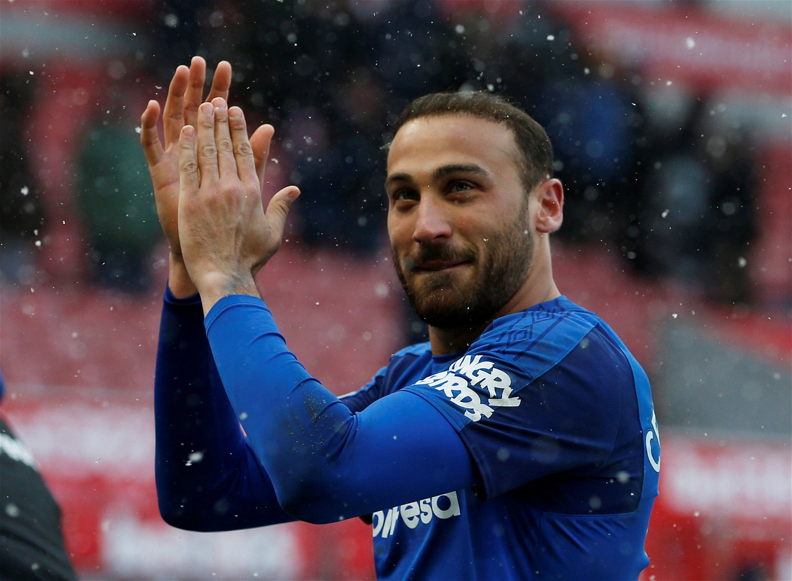 Cenk Tosun applauds the Everton fans following the team's win over Stoke City