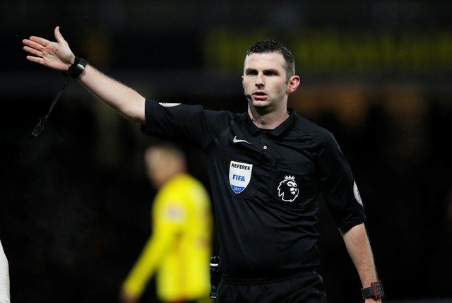 Never a red! Arsenal fans fume at Michael Oliver's refereeing