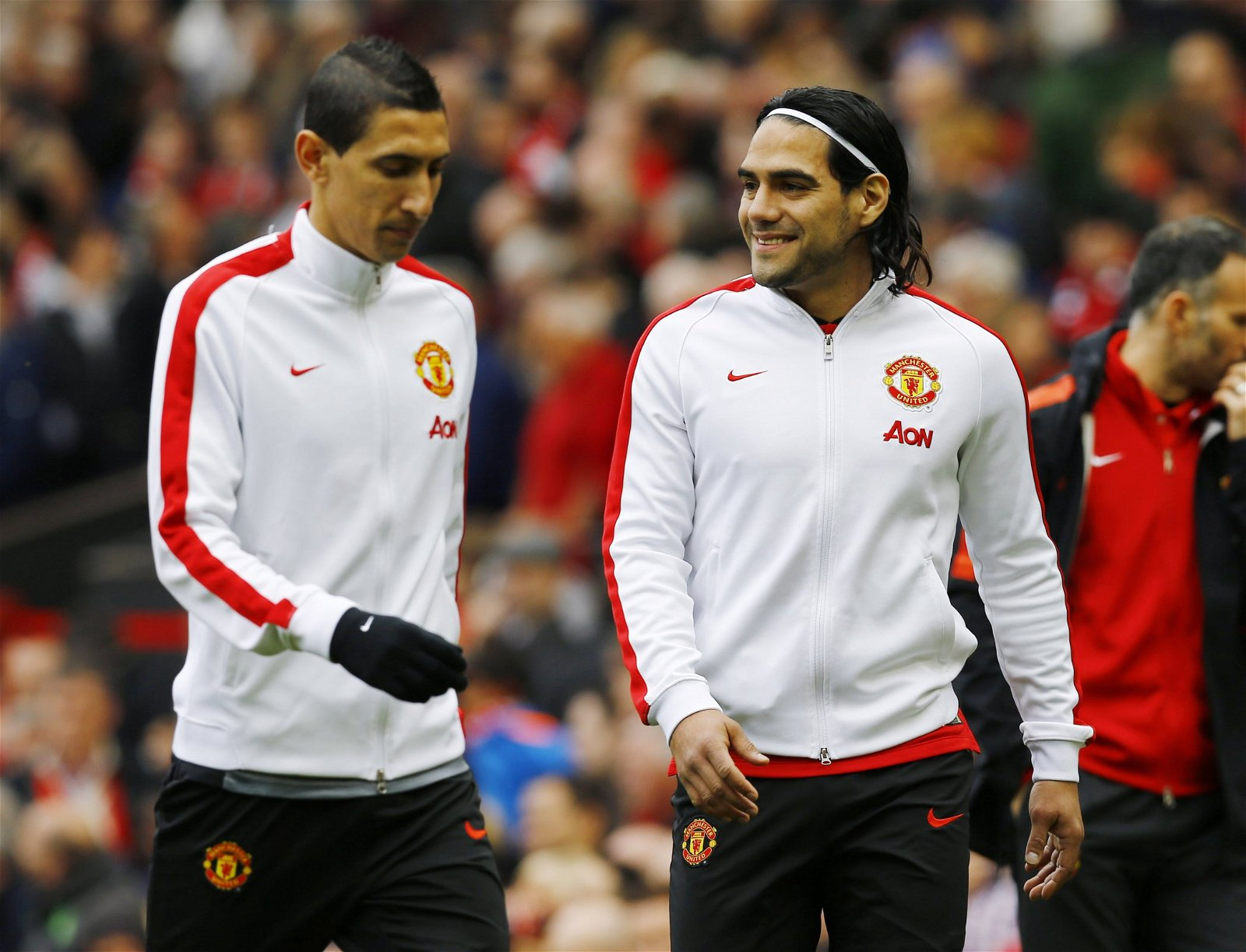 Angel Di Maria and Radamel Falcao in their Man United tracksuits