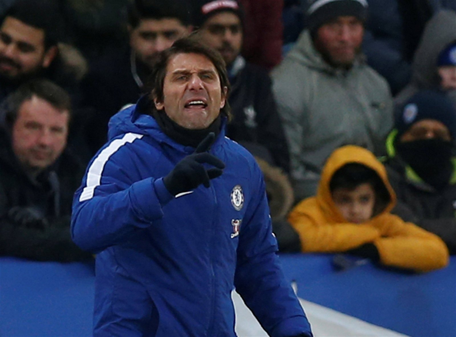 Antonio Conte on the touchline at the King Power Stadium