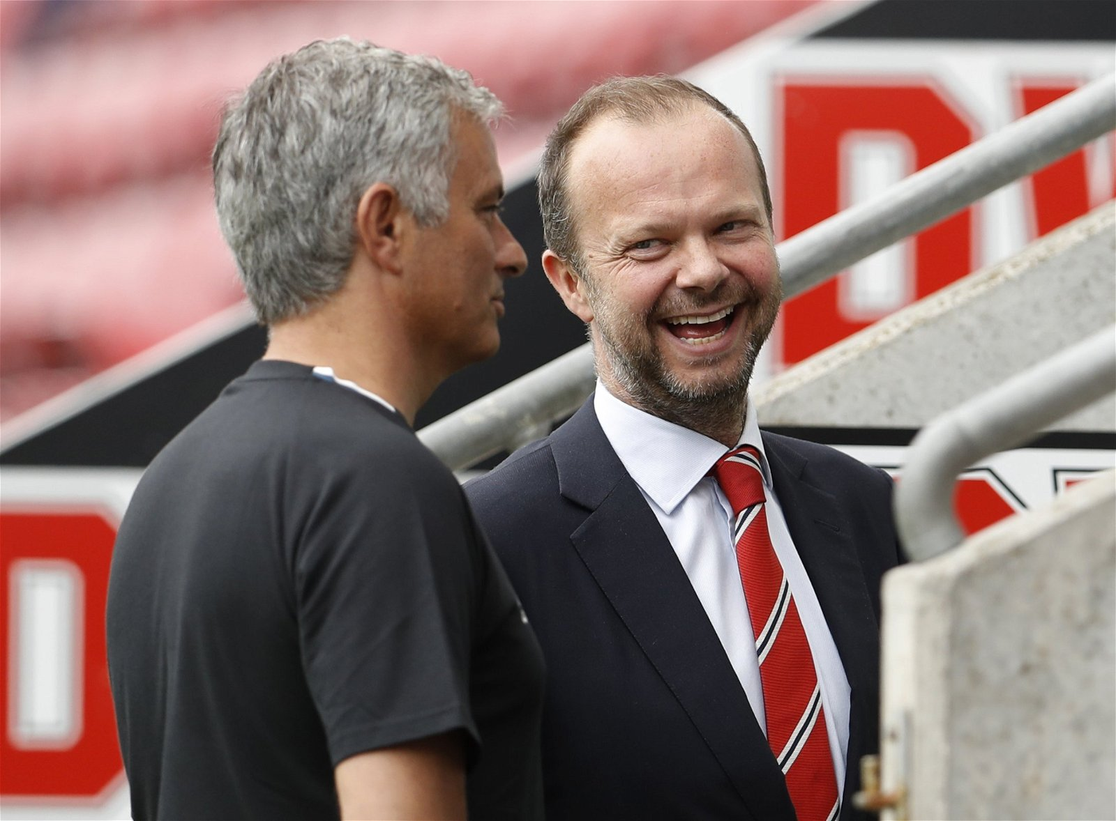 Ed Woodward shares a joke with Jose Mourinho