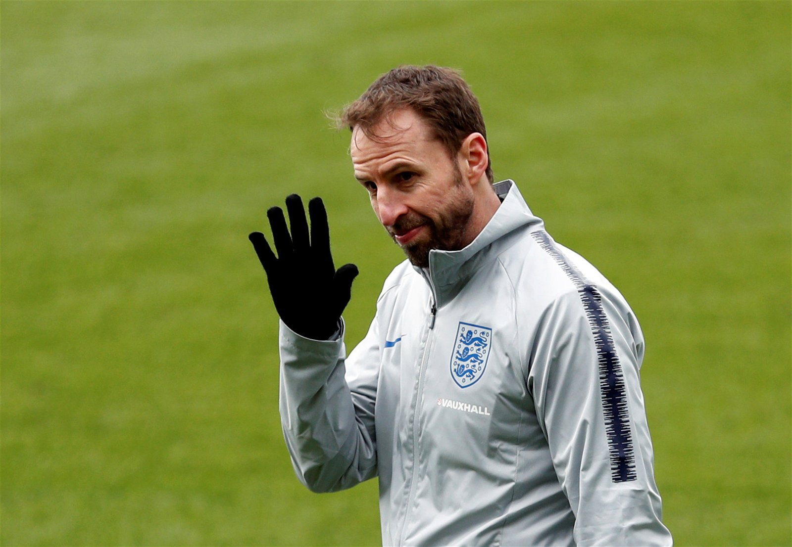 Gareth Southgate waves to the cameras