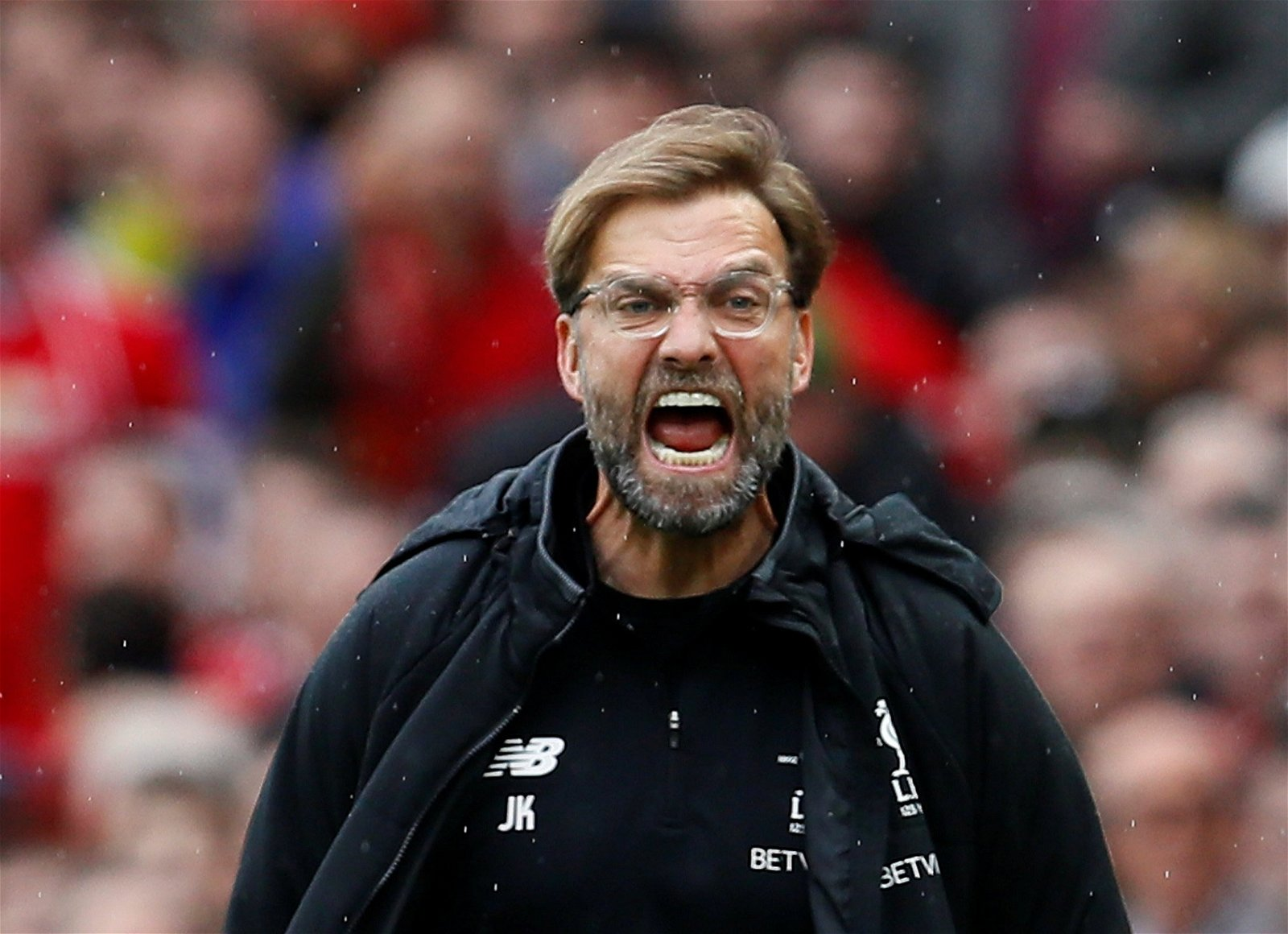 Jurgen Klopp barking orders at Old Trafford