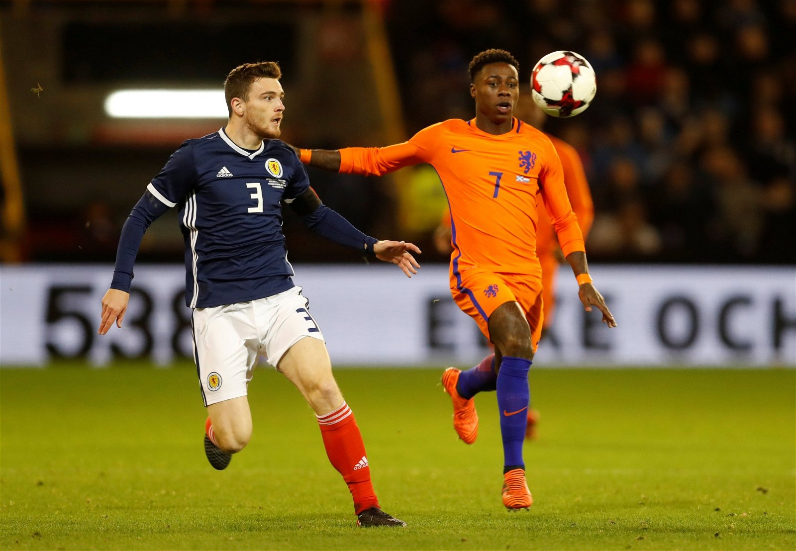 Liverpool's Andy Robertson in action for Scotland