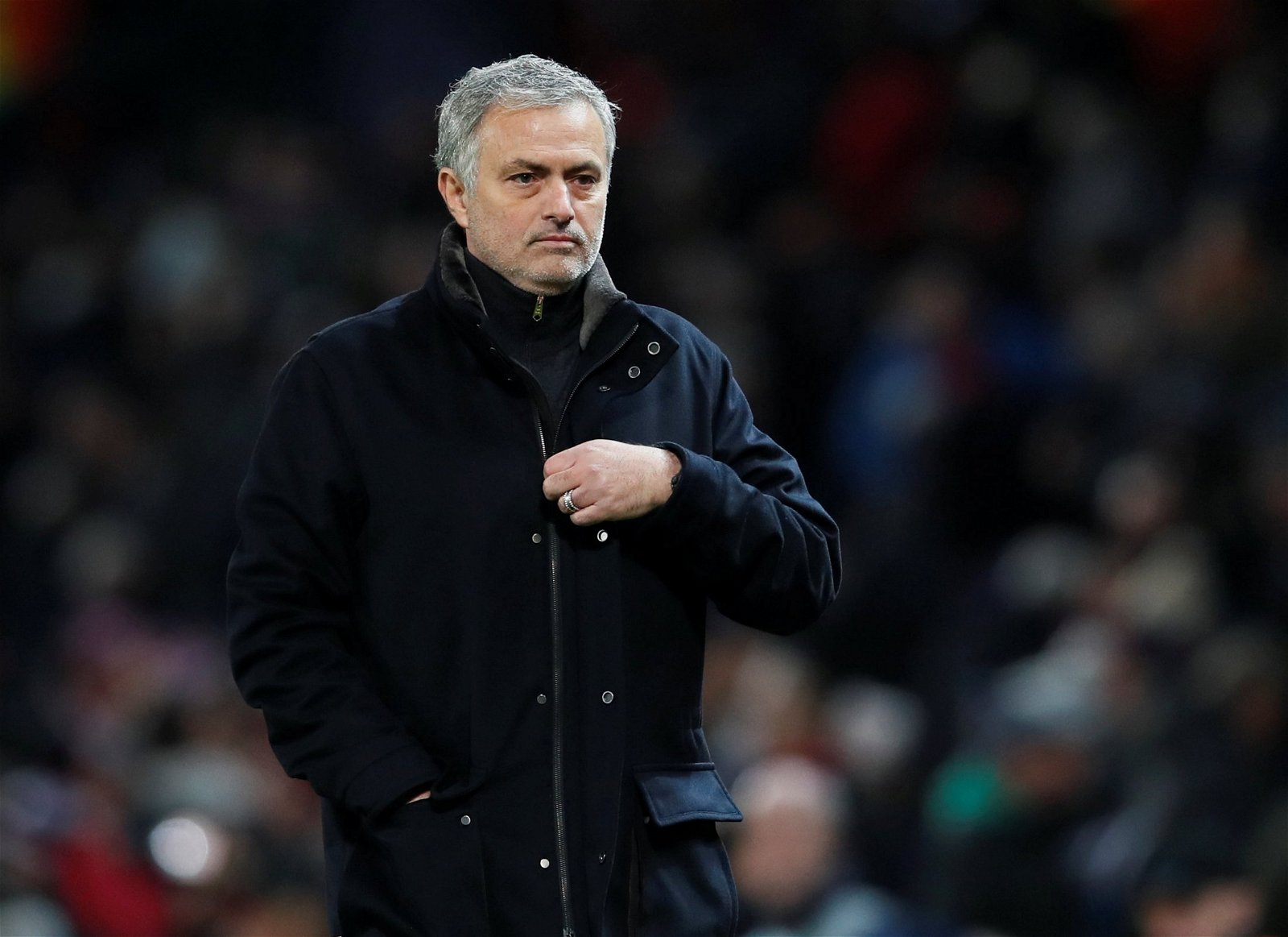 Manchester United manager Jose Mourinho looks dejected after defeat