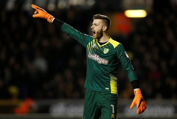 Norwich City goalkeeper Angus Gunn issues instructions
