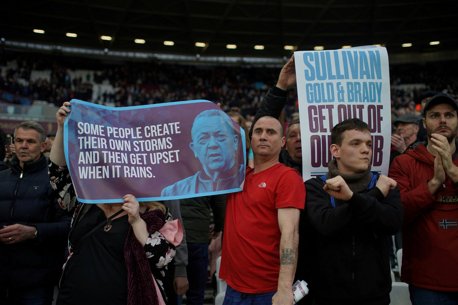 West Ham fans protesting against Gold and Sullivan