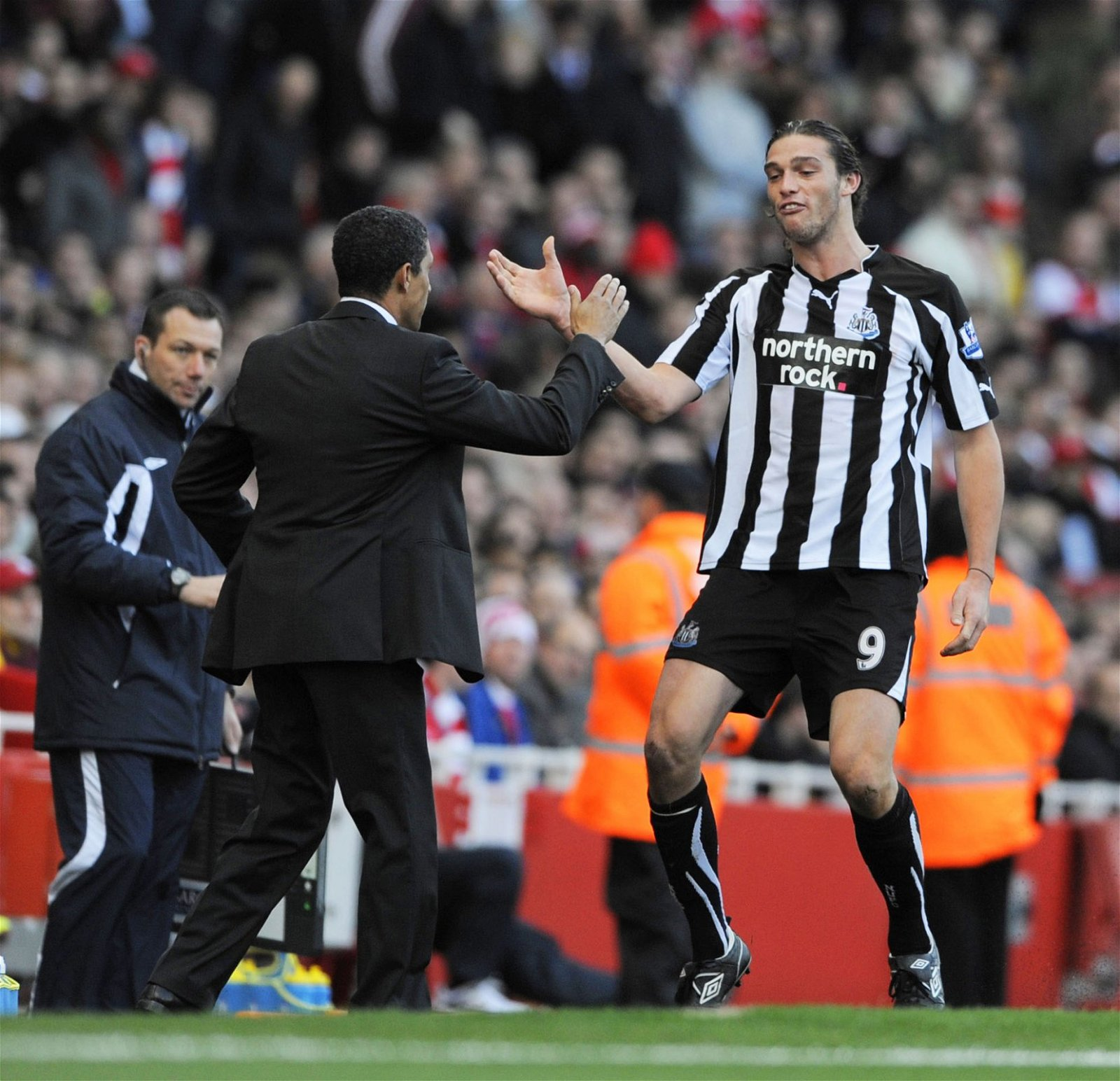 Chris Hughton and Andy Carroll at Newcastle