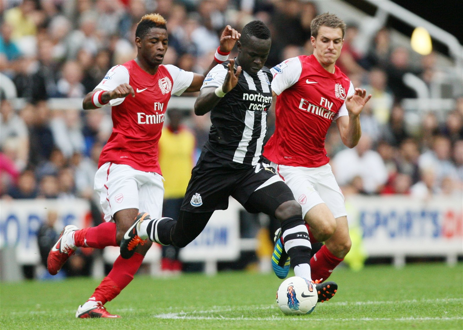 Cheick Tiote plays for Newcastle v Arsenal in 2011