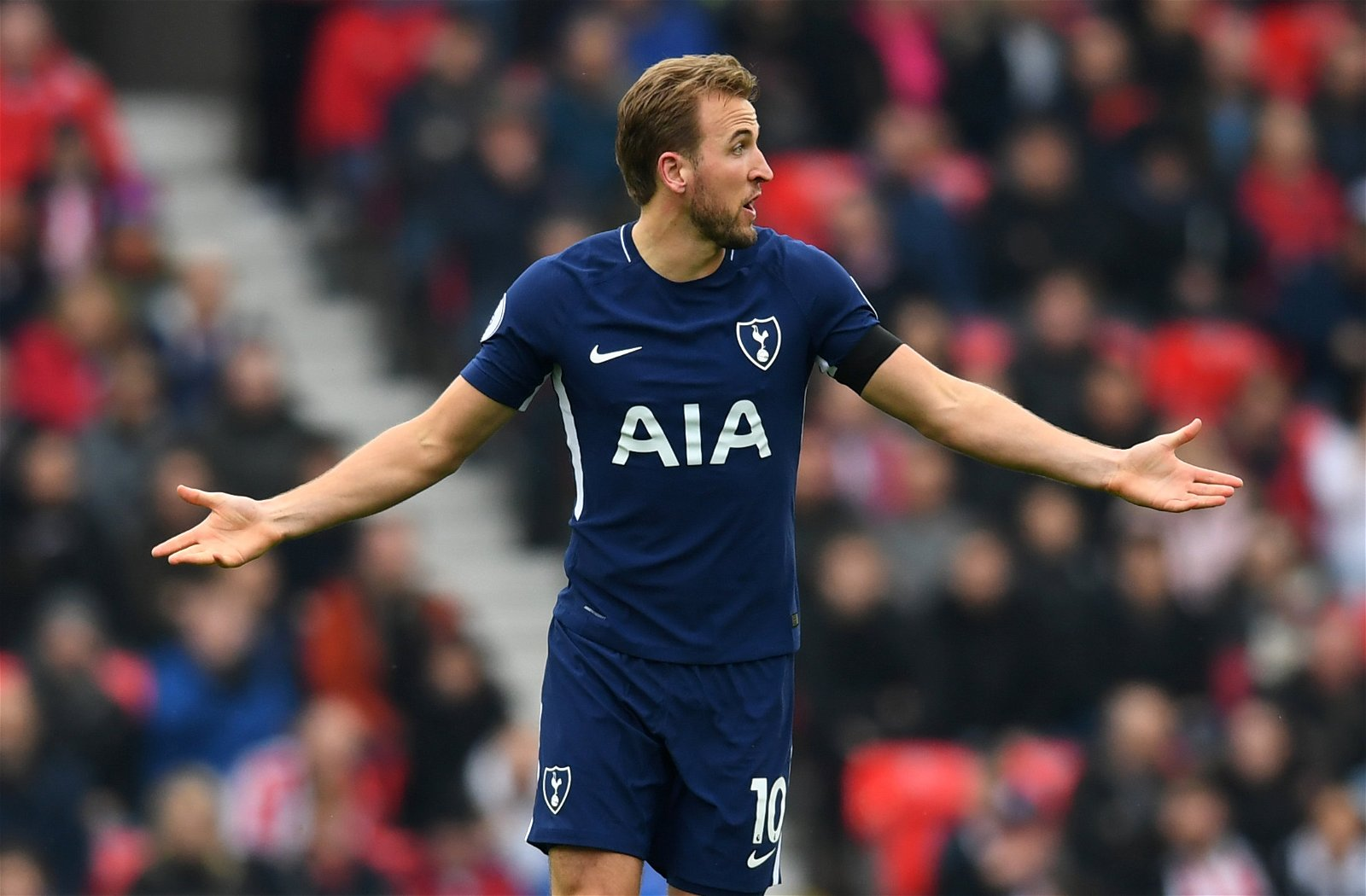 Harry Kane looks frustrated during Tottenham Hotspur's Premier League match against Stoke City