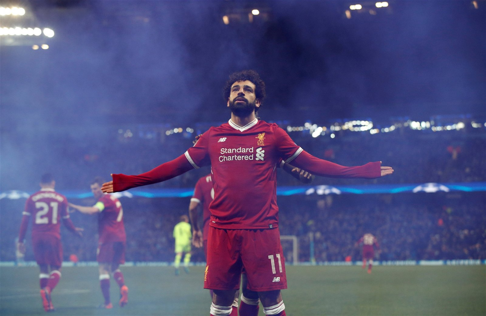 Liverpool's Mohamed Salah celebrates scoring against Manchester City in the Champions League quarter-final
