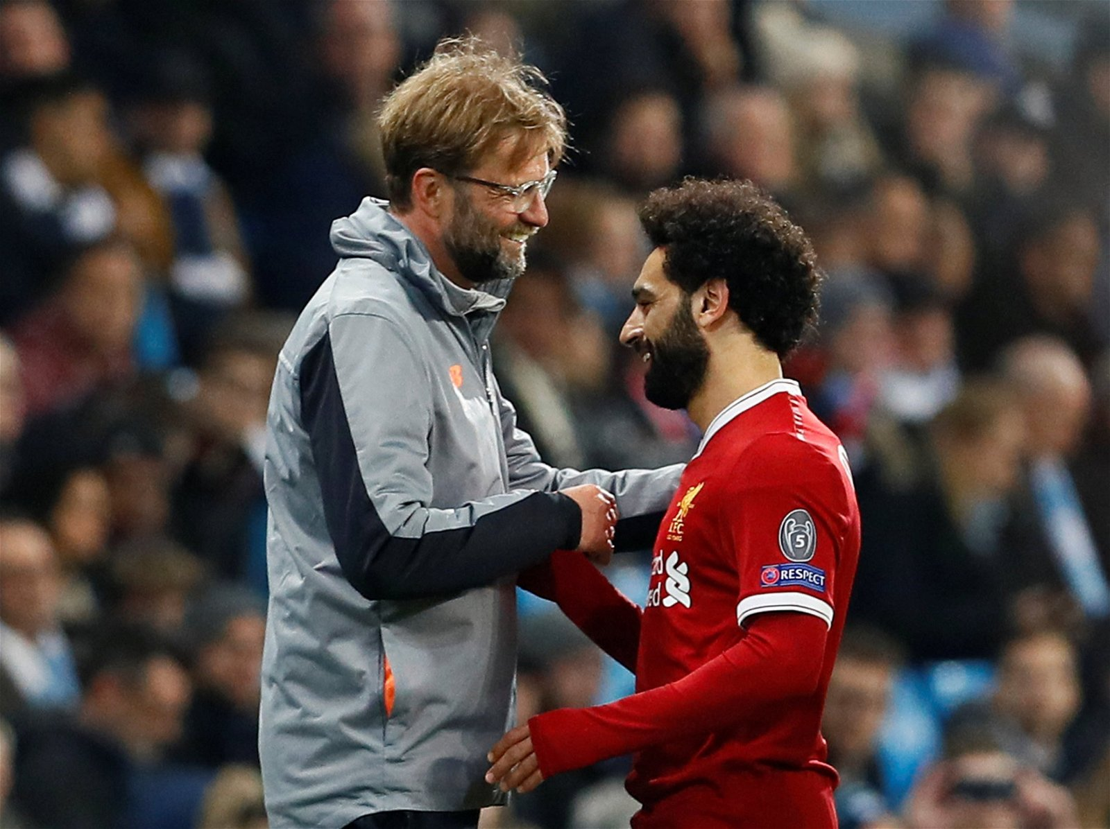 Liverpool manager Jurgen Klopp greets Mohamed Salah