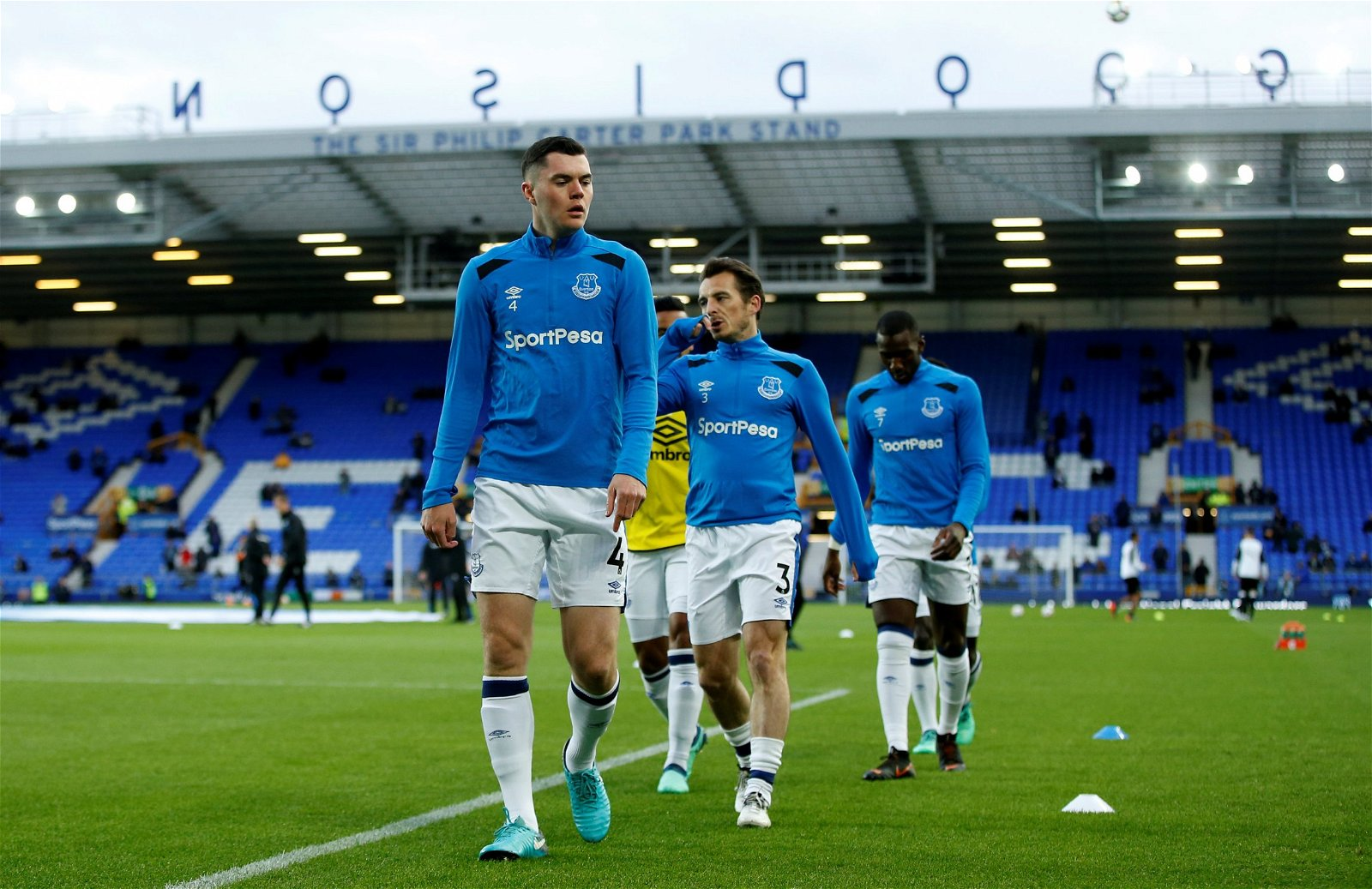 Everton defender Michael Keane warming-up for the Toffees