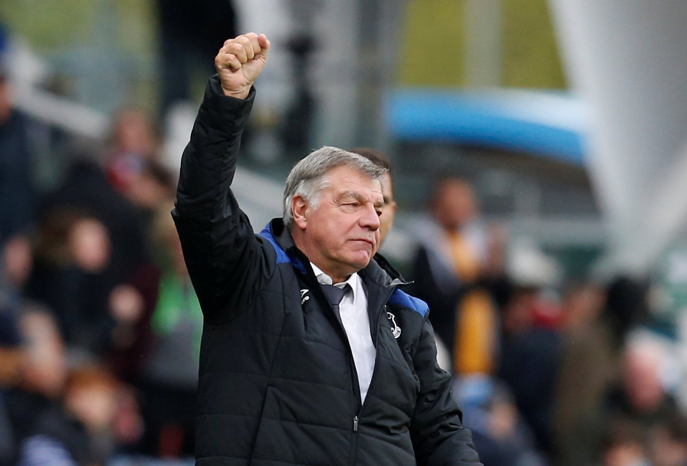 Everton manager Sam Allardyce celebrates victory over Huddersfield Town