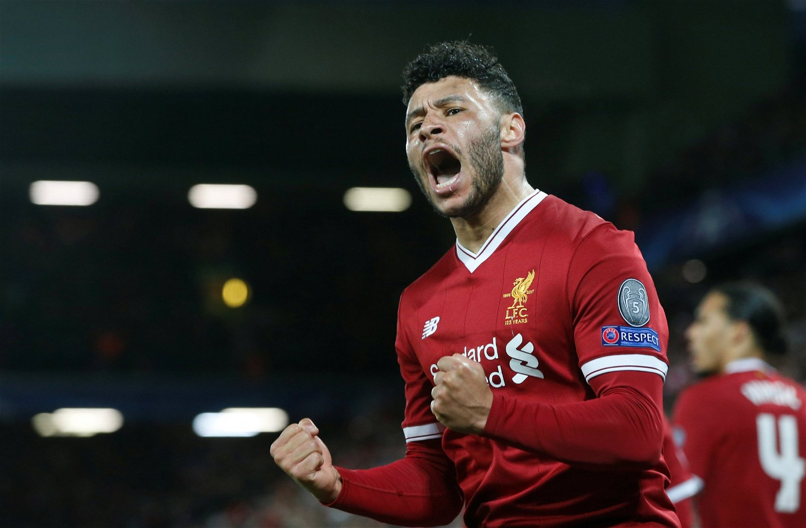 Alex Oxlade-Chamberlain celebrates scoring for Liverpool
