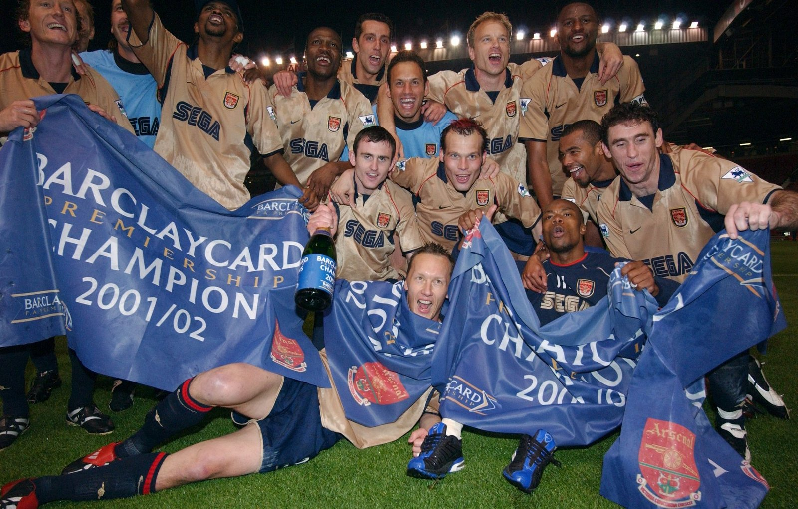 Arsenal celebrate winning the title at Old Trafford