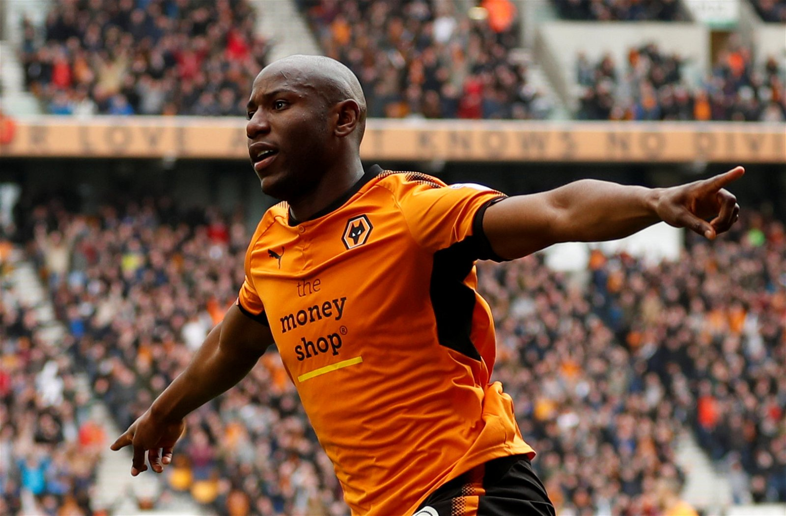 Benik Afobe celebrates scoring for Wolverhampton Wanderers