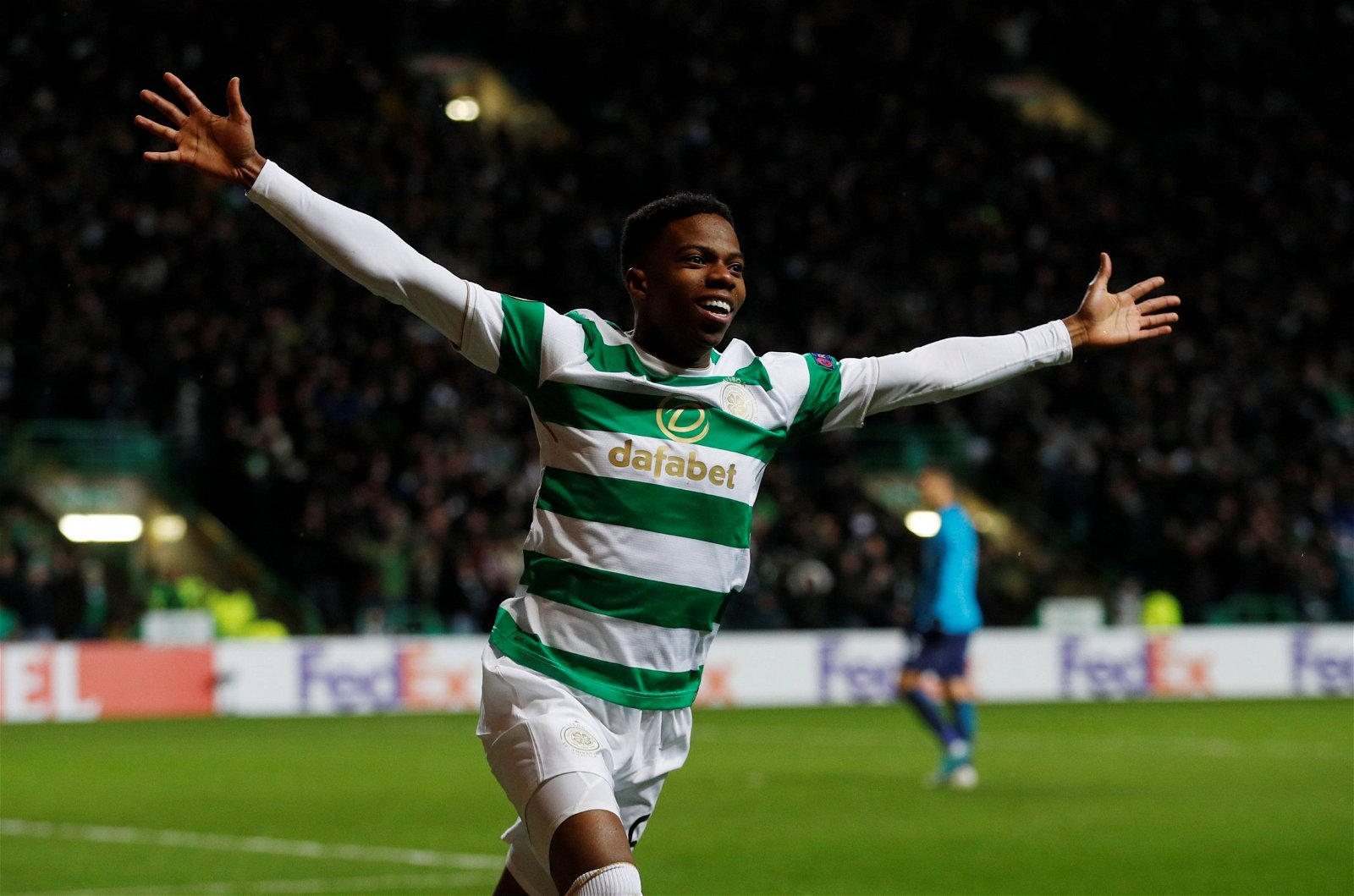 Charly Musonda celebrates a Celtic goal