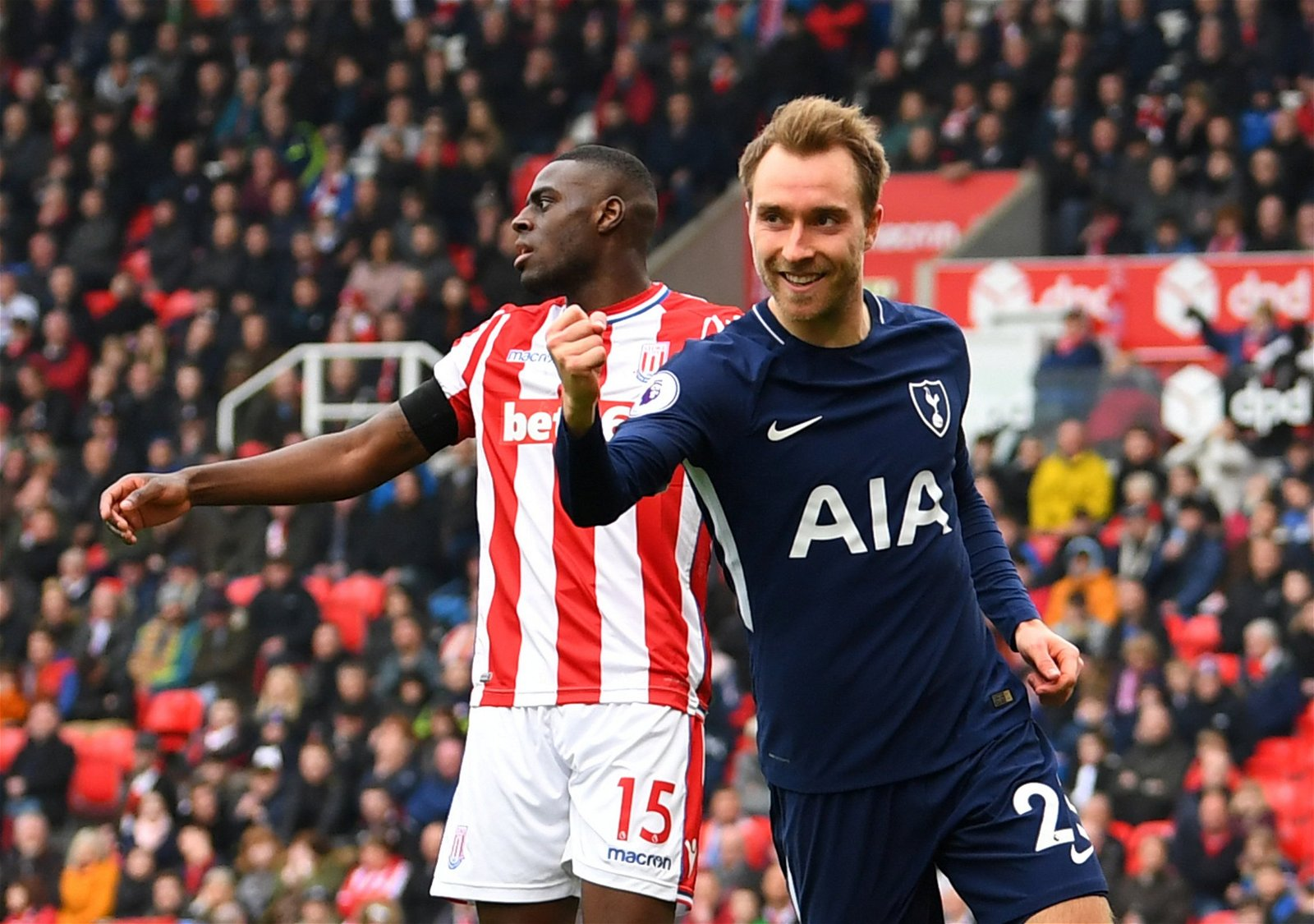 Christian Eriksen celebrates scoring against Stoke City