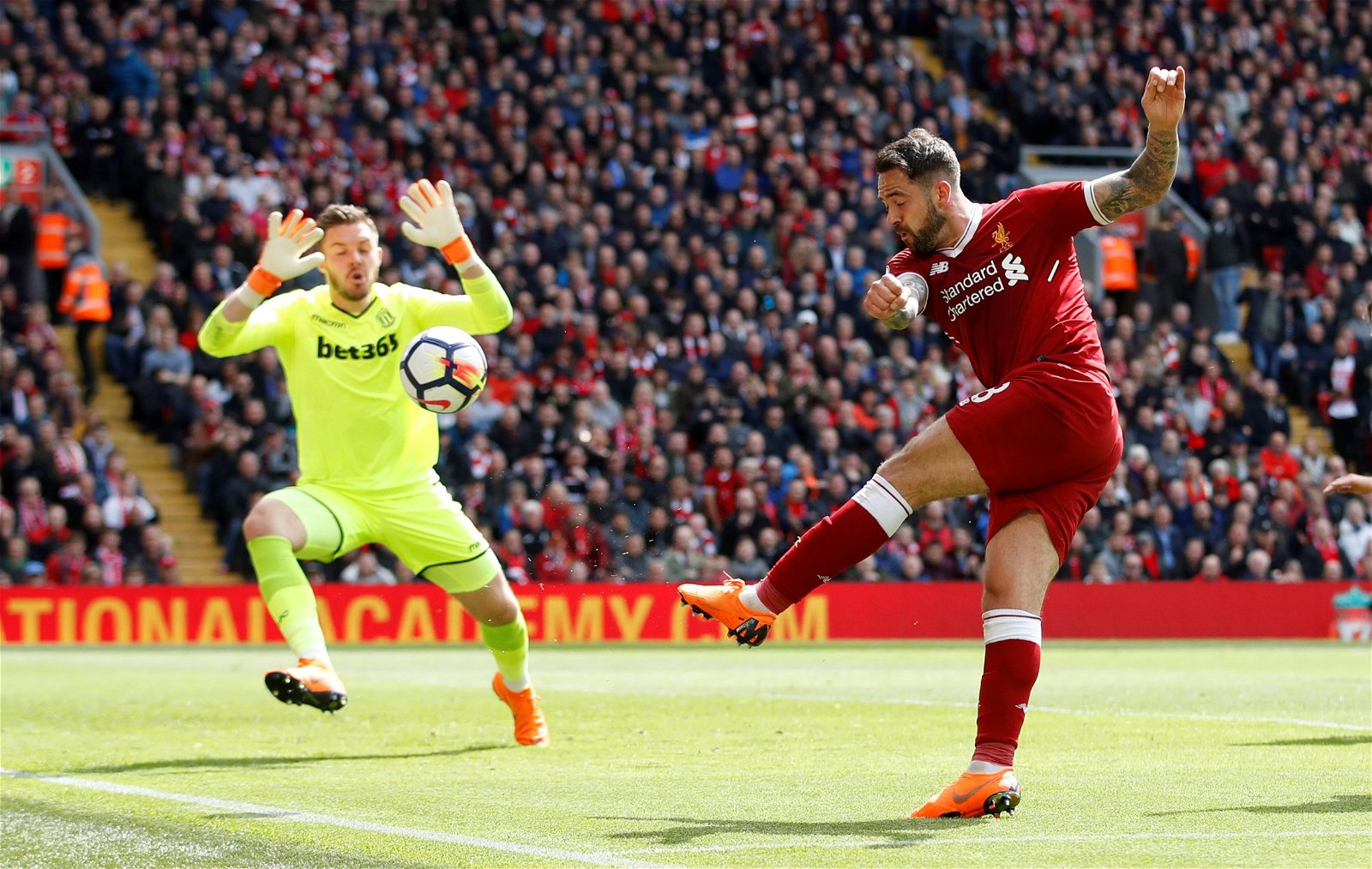 Danny Ings takes a shot at Jack Butland