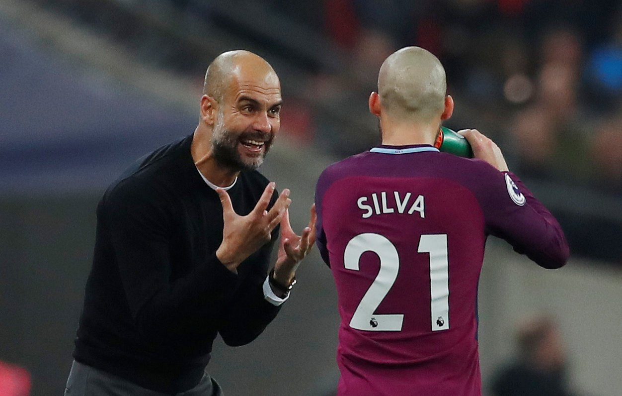 Guardiola gives instructions to David Silva