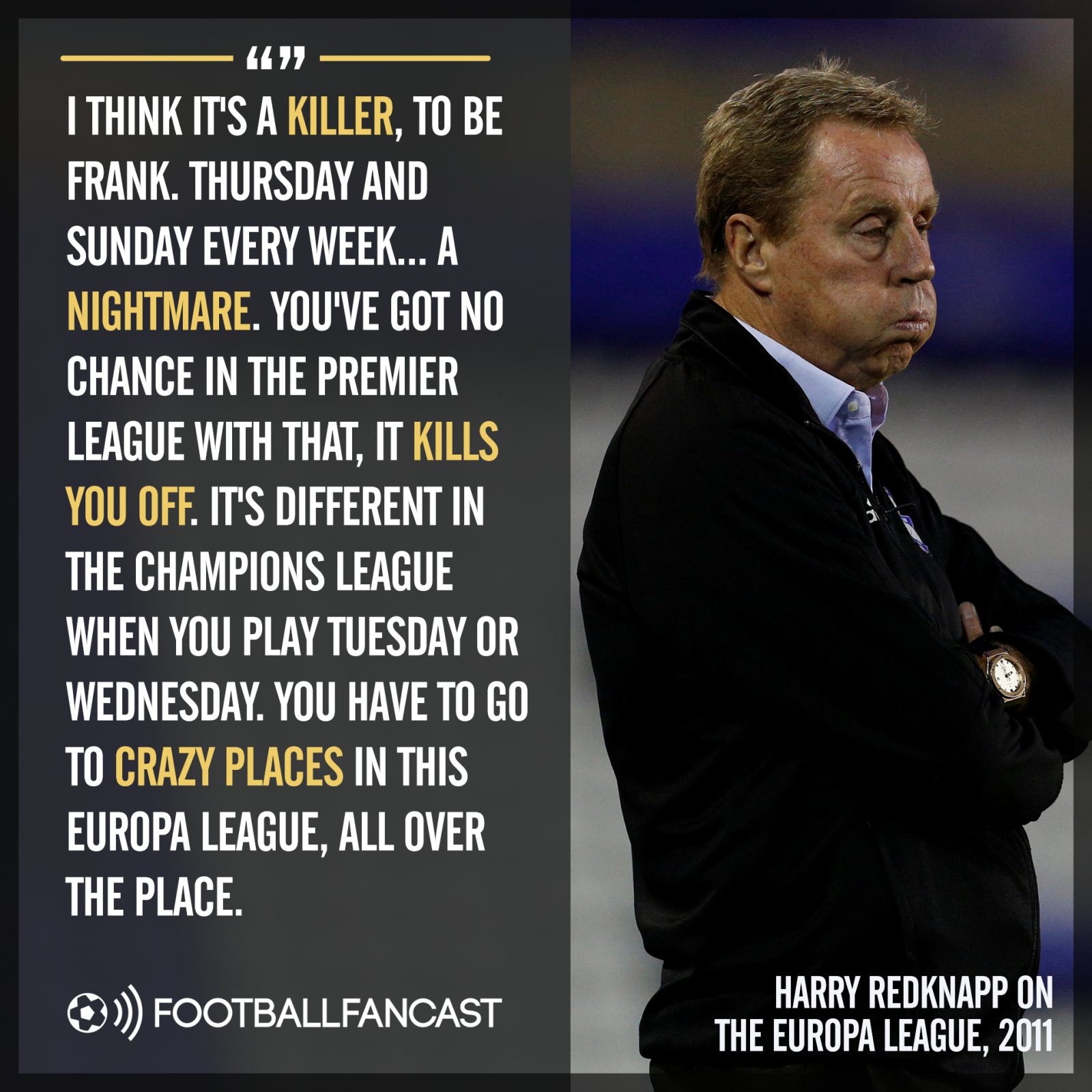 Harry Redknapp's comments on the Europa League