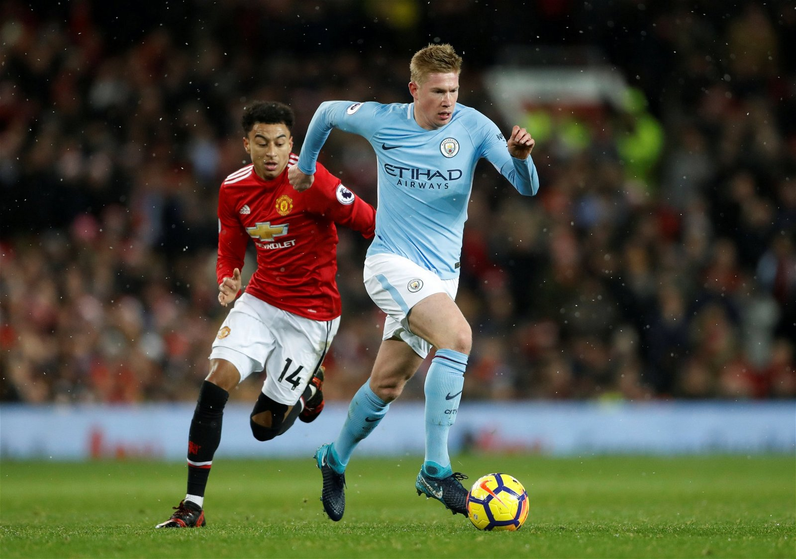 Kevin De Bruyne glides away from Jesse Lingard