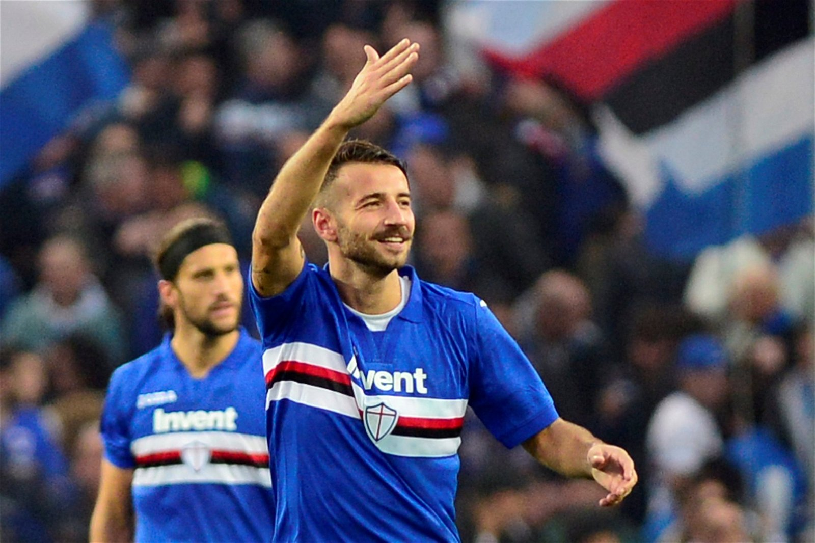Sampdoria's Gian Marco Ferrari celebrates scoring against Juventus