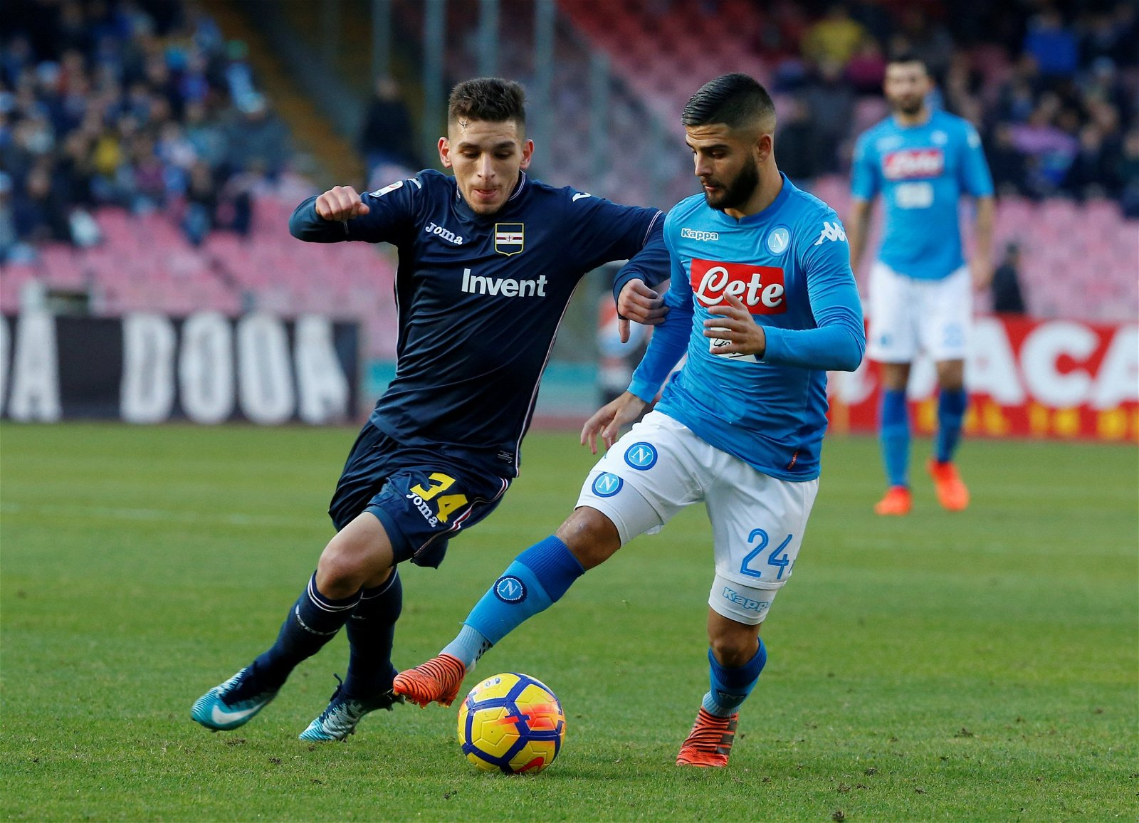 Sampdoria's Lucas Torreira in action against Napoli