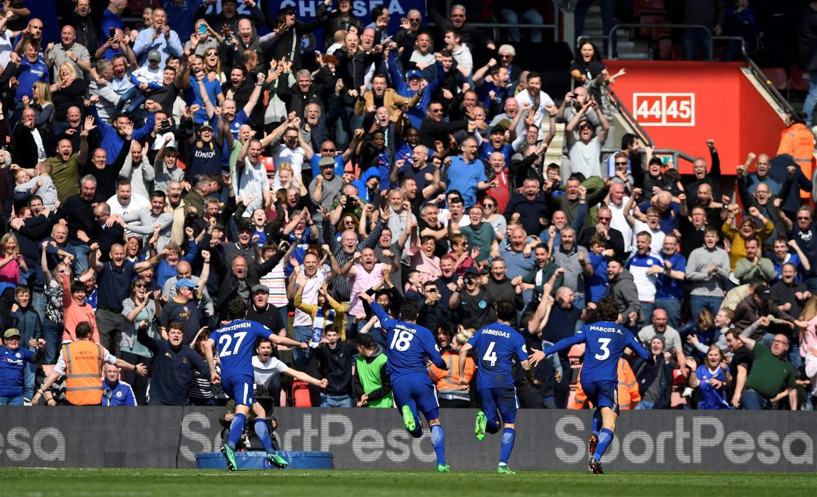 Chelsea fans celebrate against Southampton