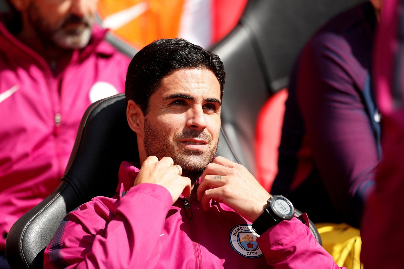 Mikel Arteta on Manchester City's bench for their Premier League game against Southampton