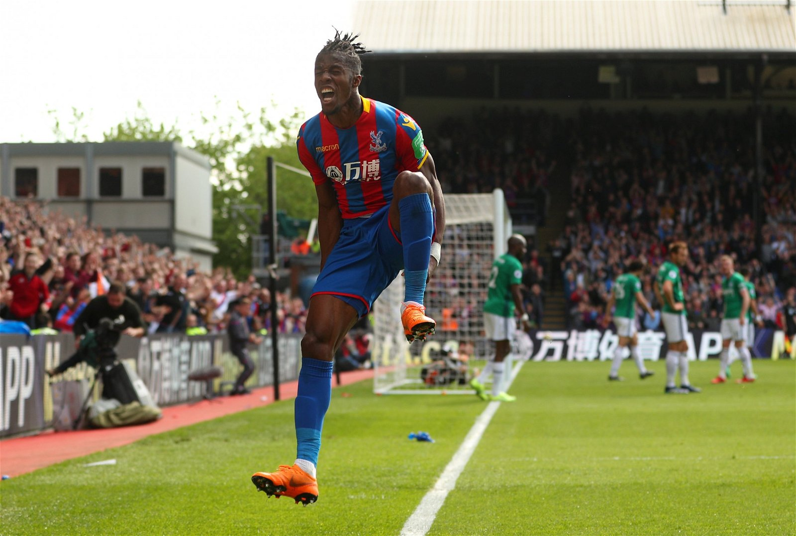 Wilfried Zaha celebrates scoring for Crystal Palace against West Bromwich Albion