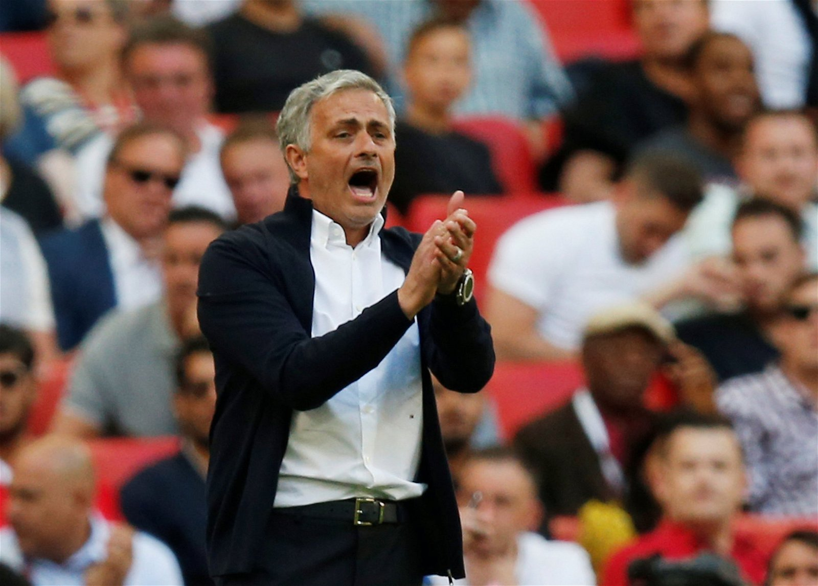 Jose Mourinho shouts on the touchline during Manchester United's FA Cup final against Chelsea