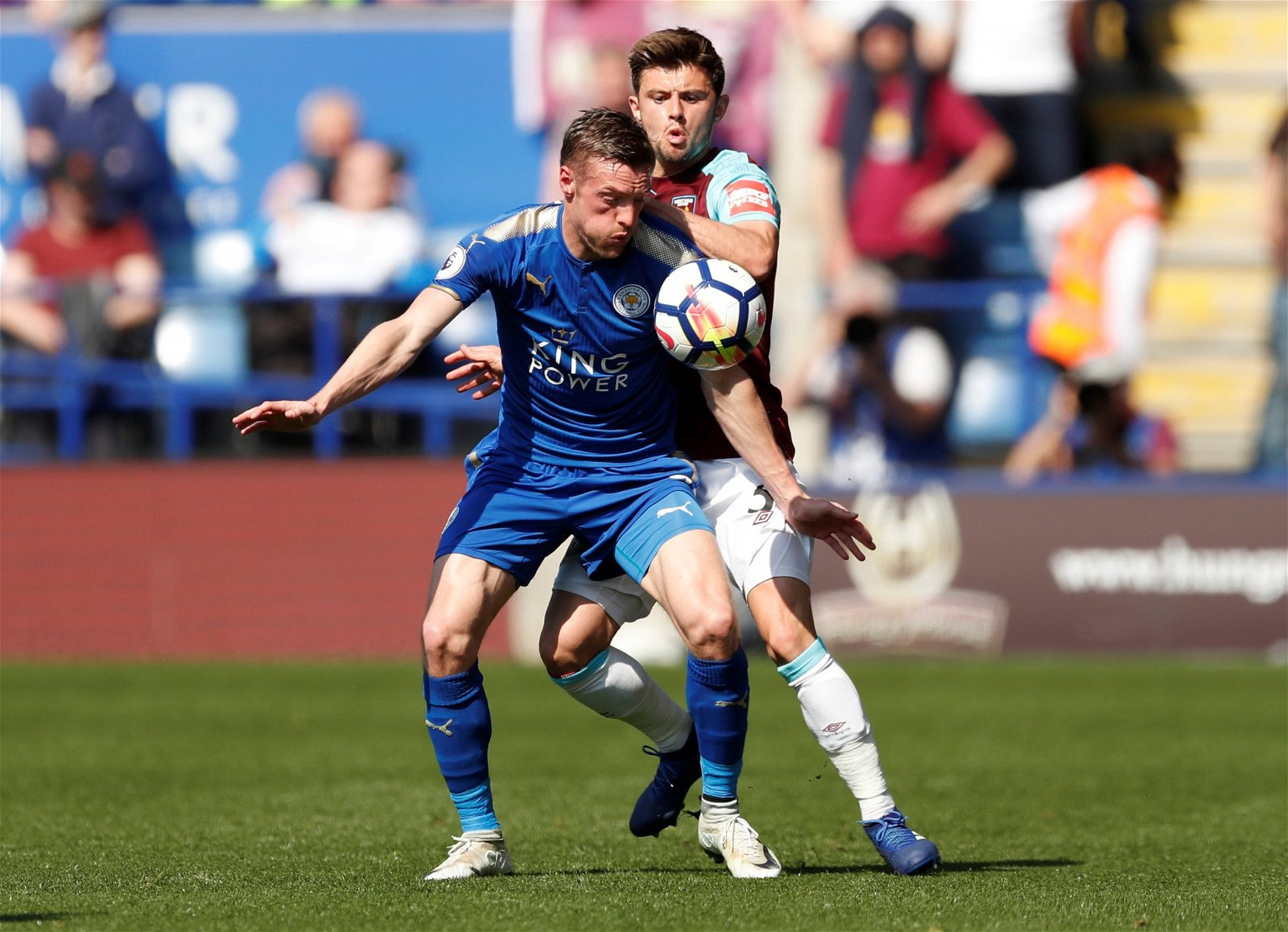 Aaron Cresswell in action with Jamie Vardy