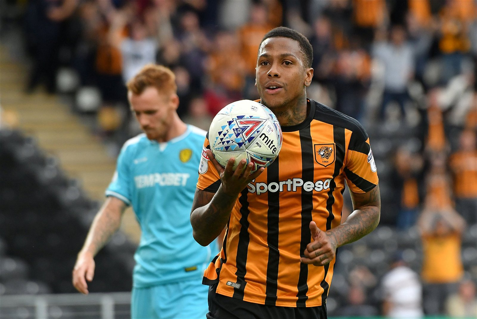 Abel Hernandez grabs the ball after scoring