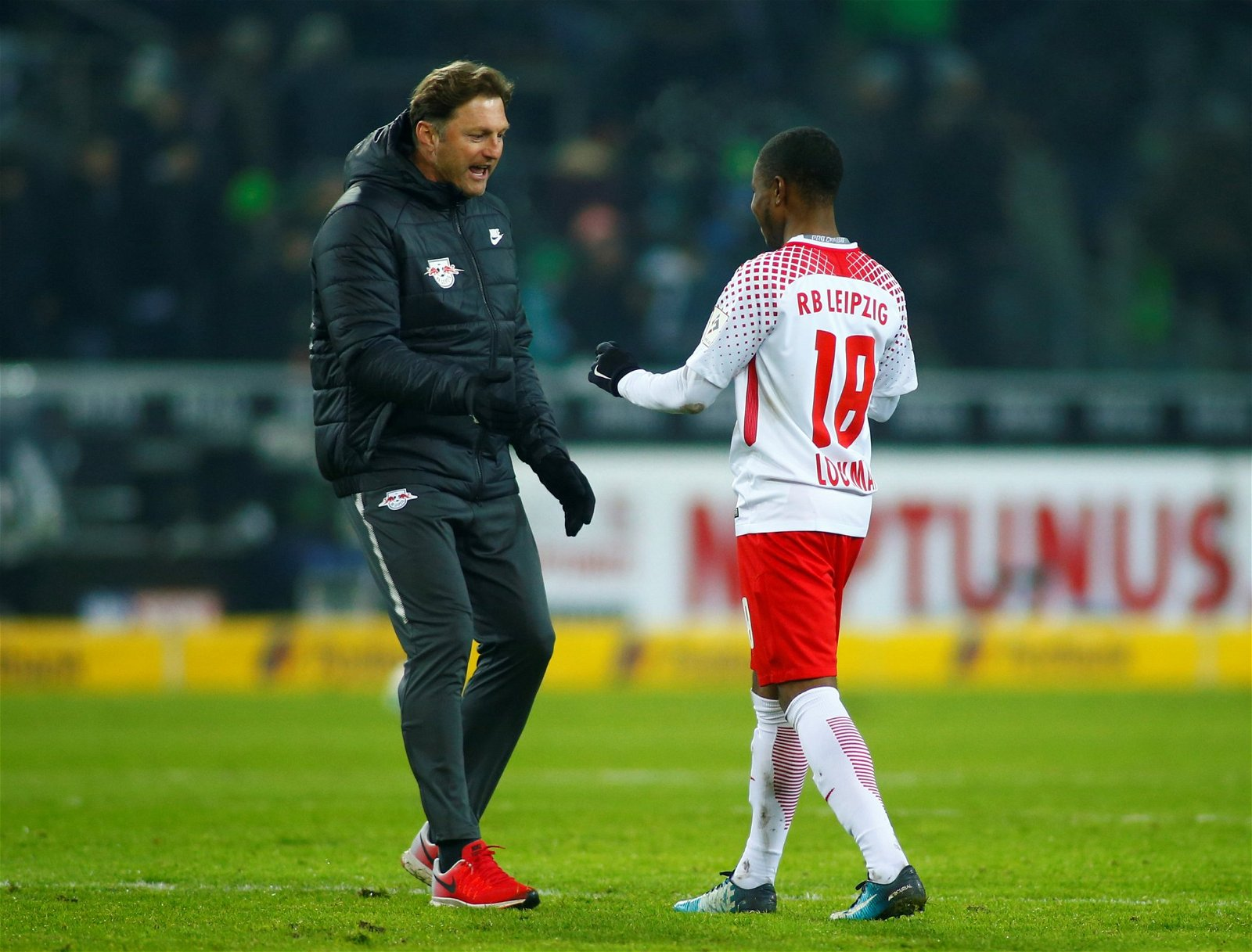 Ademola Lookman with the RB Leipzig manager