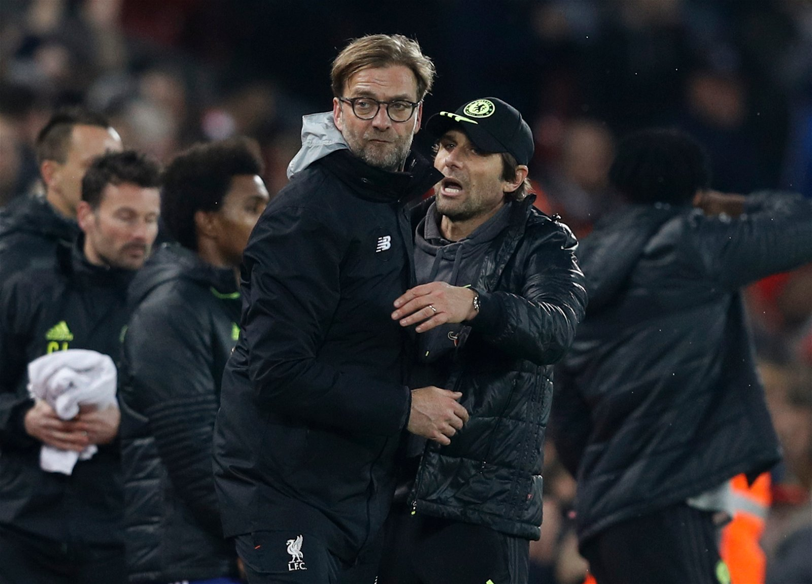 Chelsea manager Antonio Conte and Liverpool manager Juergen Klopp after the game