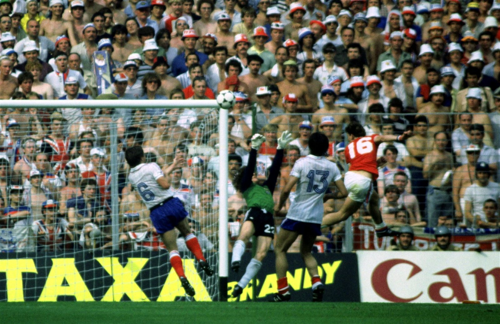 Bryan Robson scores against France