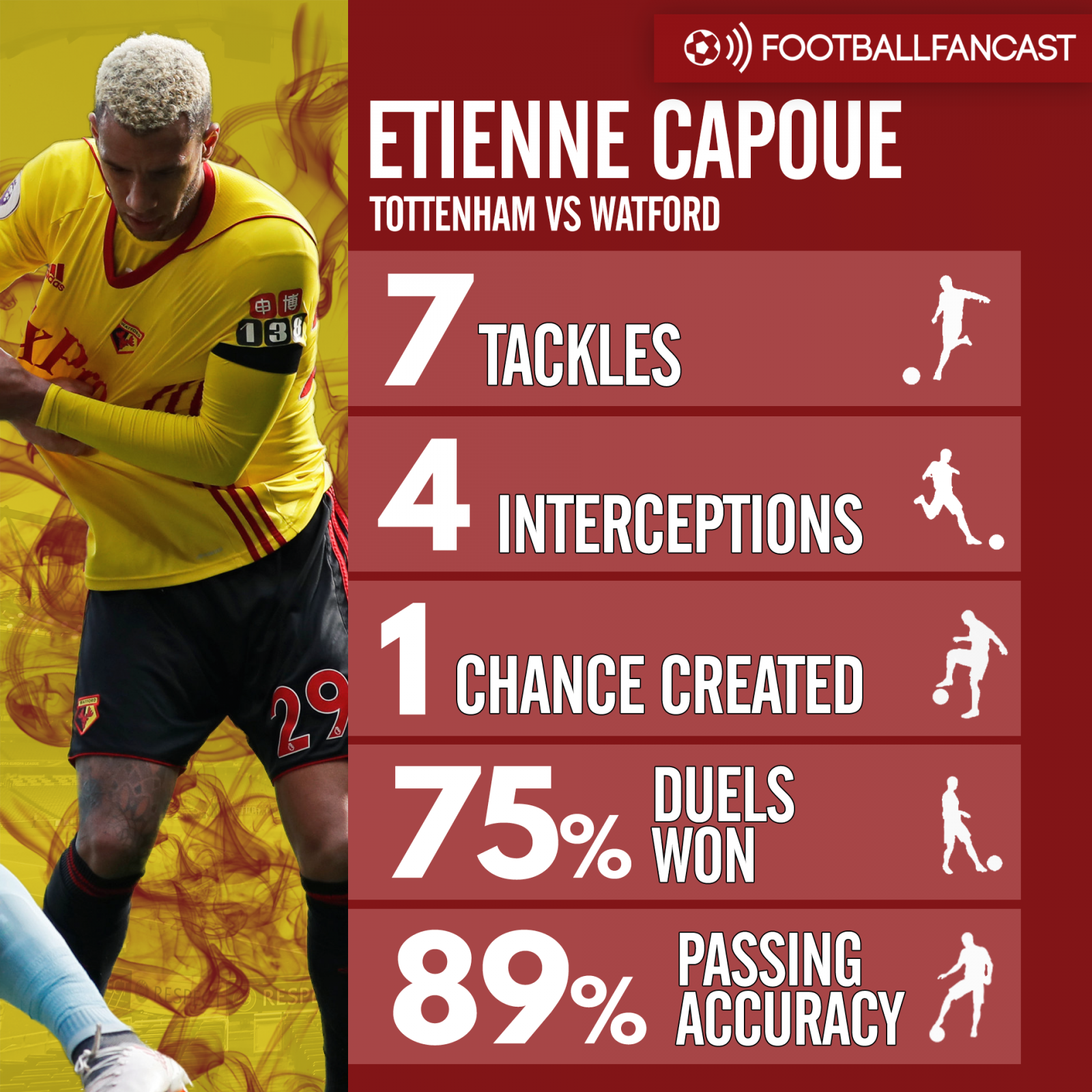 Etienne Capoue's stats from Watford's defeat to Tottenham