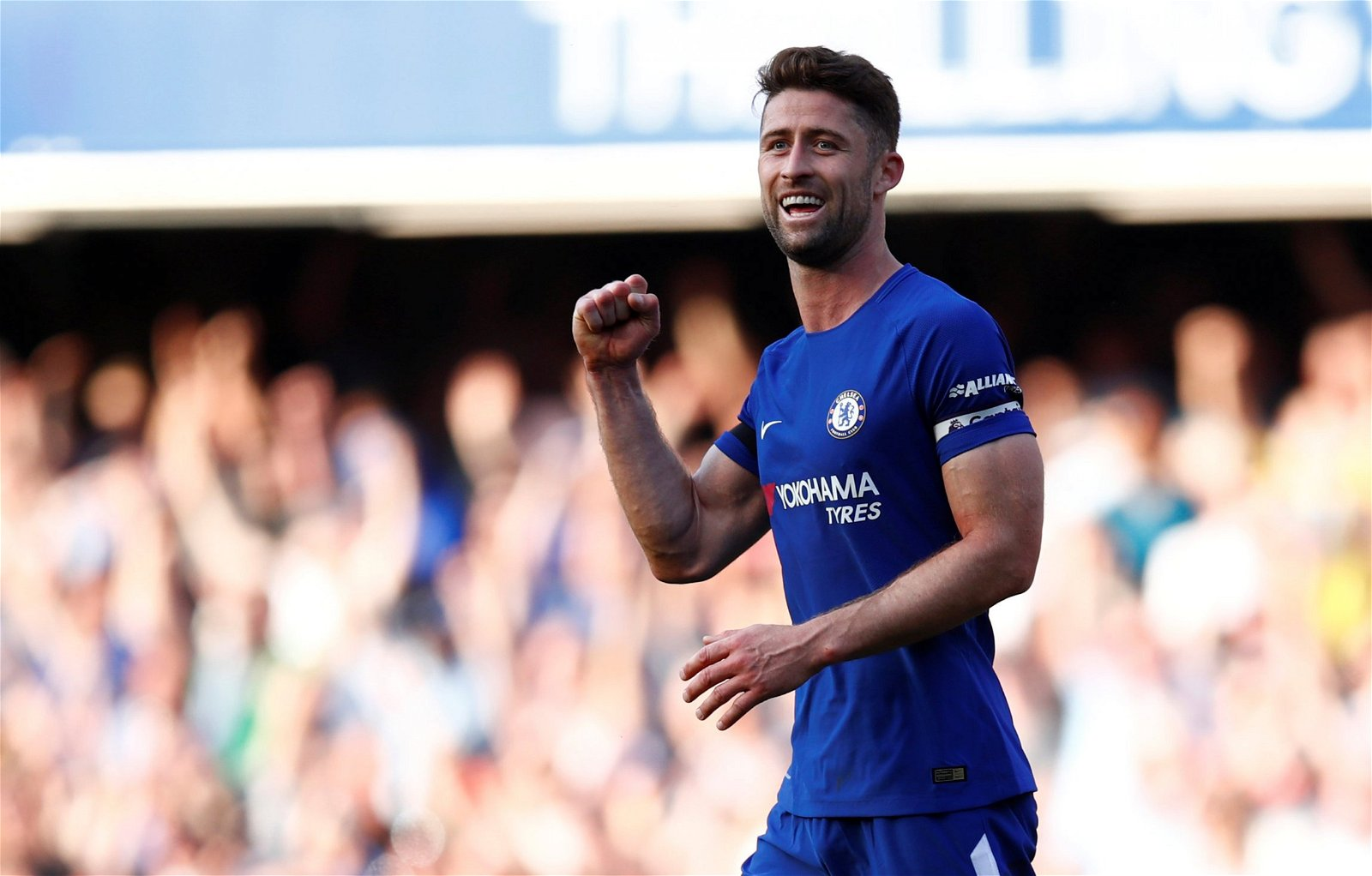 Gary Cahill celebrates beating Liverpool