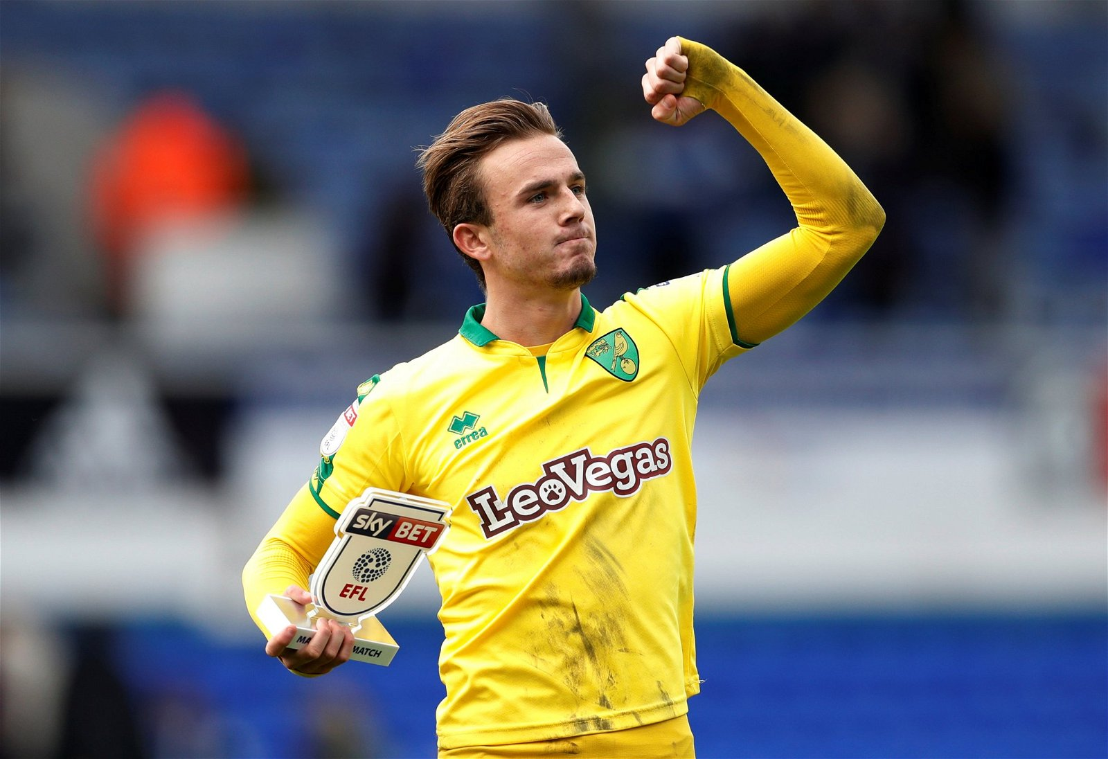 James Maddison celebrates after a Norwich City win