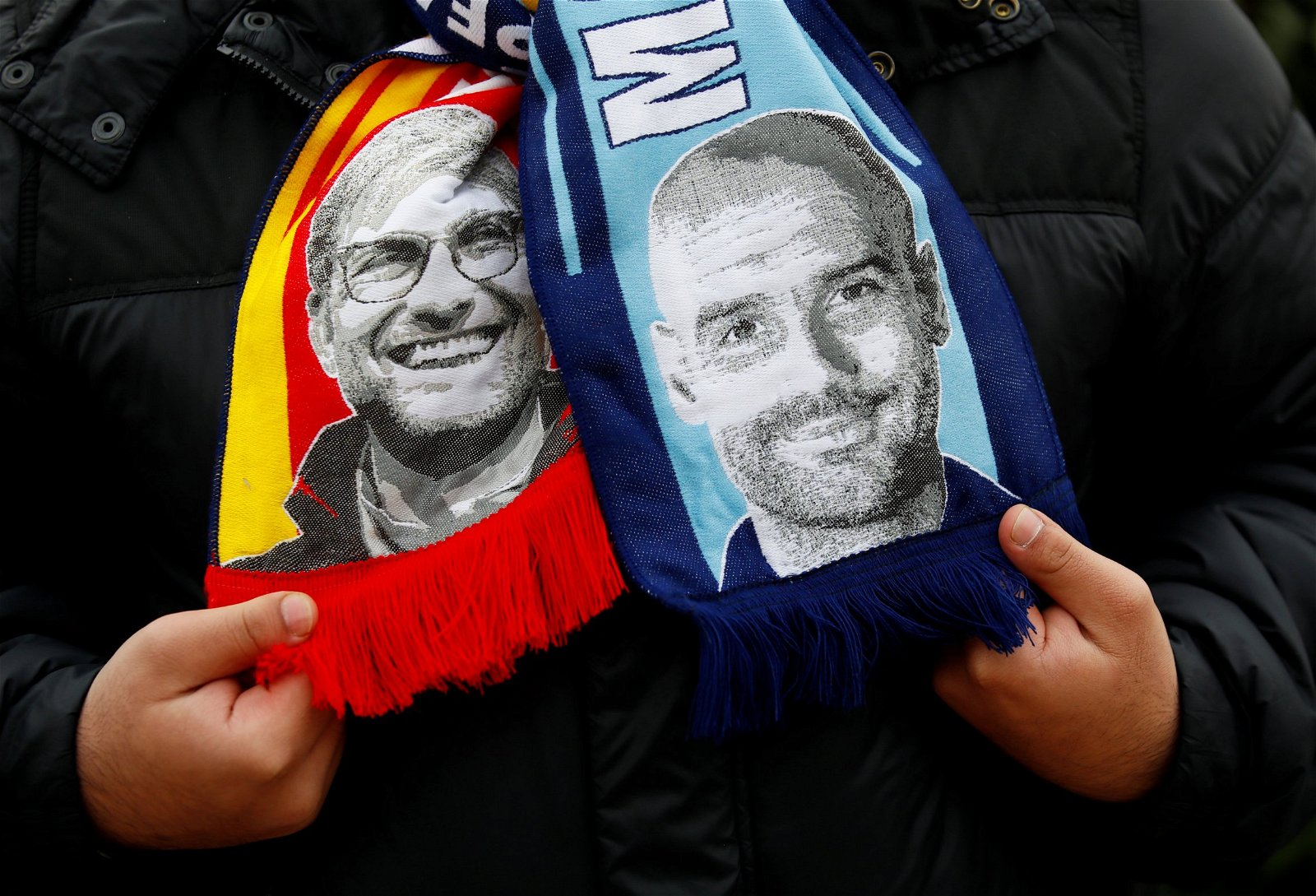 Jurgen Klopp and Pep Guardiola scarves