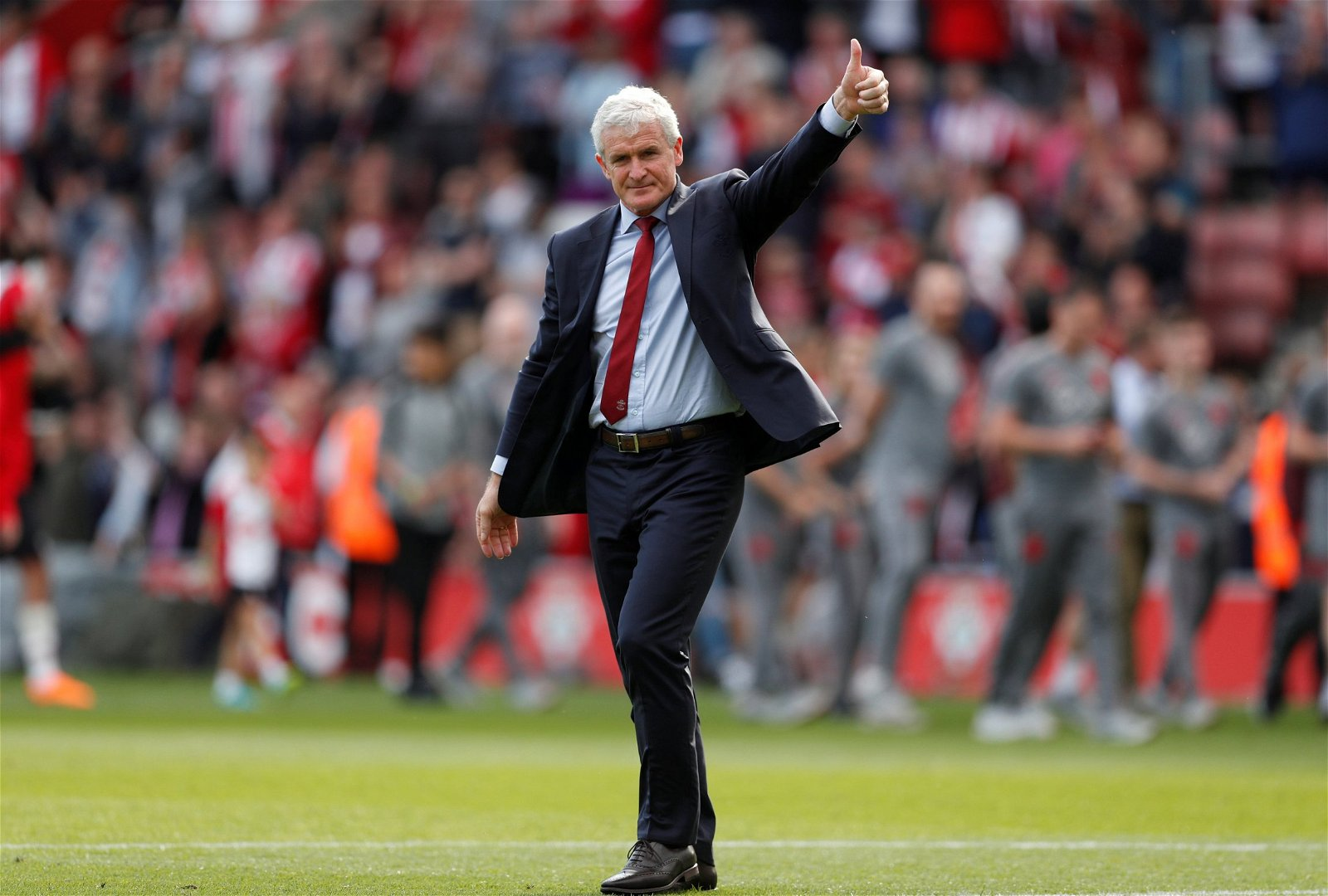 Mark Hughes celebrates Southampton surviving